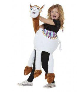 Boven Op Een Lama Zitten Kind Kind Kostuum