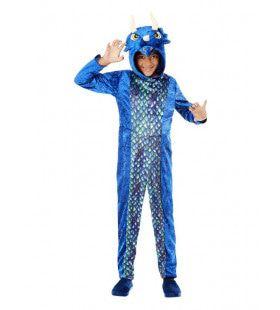 Blauwe Dinosaurus Draak Triceratops Kind Kind Kostuum