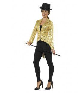 Gouden Pailletten Showvrouw Slipjas