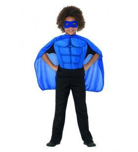 Blauw Gespierde Superheld Kind Kostuum