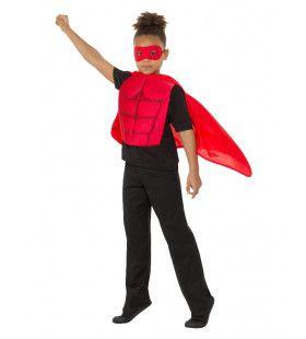 Rood Gespierde Superheld Kind Kostuum