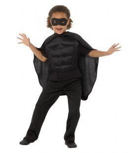 Zwart Gespierde Superheld Kind Kostuum