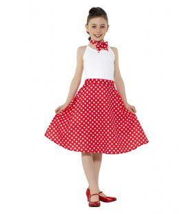 Rode Stippen Jaren 50 Polka Dot Meisje Kostuum