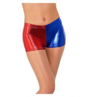 Korte Rood Blauwe Harley Quinn Shorts Vrouw