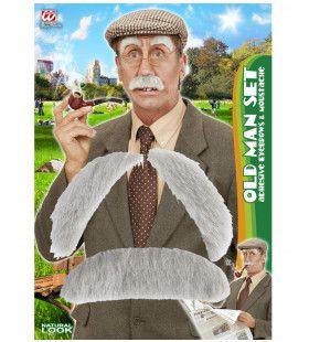 Snor En Wenkbrouwen Oude Man Grandpa Grey