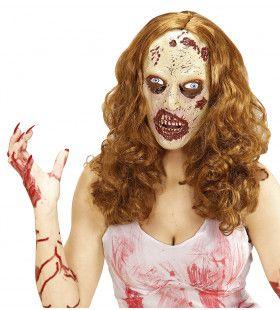 Zombiemasker Met Pruik Lang Normaal Haar