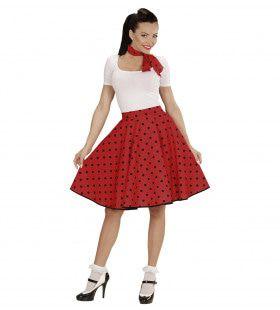 Red Doll 50s Rock And Roll Rok Met Nekband, Rood Vrouw Kostuum