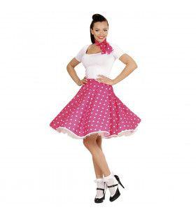 50s Rock And Roll Rok Met Nekband, Roze Pink Jumper Vrouw Kostuum