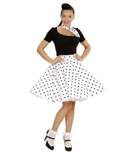 50s Rock And Roll Rok Met Nekband, Wit Black Dotty Vrouw Kostuum