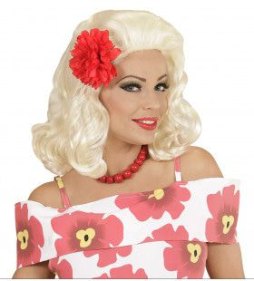 50s Pruik, Rock Pin Up Girl Blond Met Rode Roos