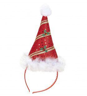 Feestelijke Hoofdband Mini Kerstman Met Marabou