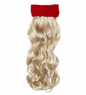 Sporty Rode Zweetband Met Blond Gekruld Haar