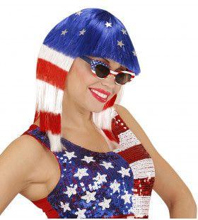 Stars And Stripes Pruik, Miss Usa