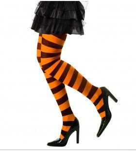 Horizonaal Panty Gestreept Oranje / Zwart