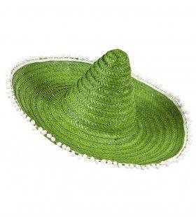 Sombrero 50cm, Groen Met Pom Poms