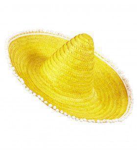 Sombrero 50cm, Geel Met Pom Poms