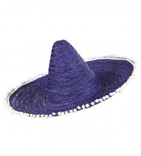 Sombrero 50cm, Blauw / Paars Met Pom Poms