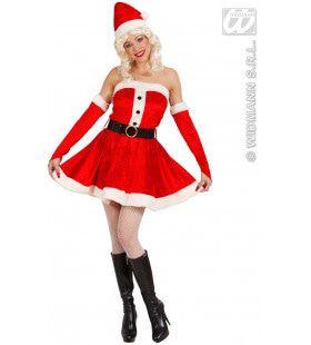 Miss Santa Fluweel Ondeugende Kerstvrouw Kostuum