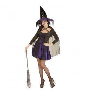 Witchita Glimmende Heks Paars Vrouw Kostuum