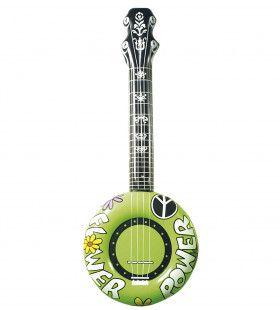 Opblaasbare Banjo, 100cm Groen Flower Power