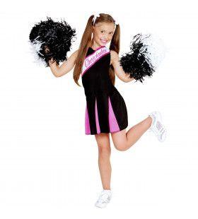 Amerikaanse Cheerleader Zwart / Roze Meisje Kostuum