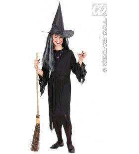 Theatrale Zwarte Heks Kind Kostuum Meisje