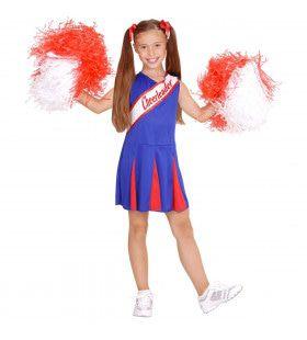 Amerikaanse Cheerleader Blauw / Rood Meisje Kostuum