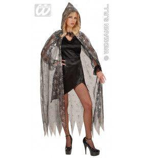 Doorzichtige Cape Spinneweb Met Kap, 136cm Kostuum Vrouw