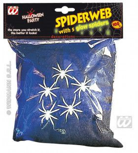 Spinnenweb Zwart, 100gram Met 5 Spinnen