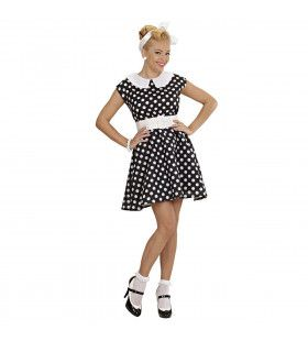 Jurk 50s Met Petticoat, Zwart Ms Diner Kostuum Vrouw