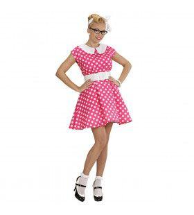 Jurk 50s Met Petticoat, Rose Ms Diner Kostuum Vrouw