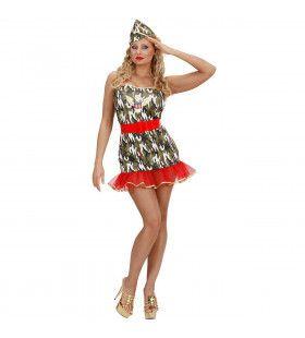 Legermeisje In Lycra Soldier Sexy Kostuum Vrouw