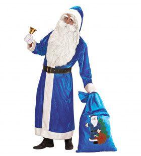Alternative Santa Kerstman Luxe Uitvoering Lang Fluweel, Blauw Kostuum