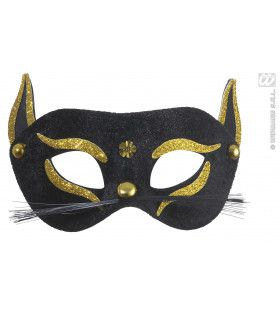 Oogmasker, Zwarte Kat Met Goud Glitter