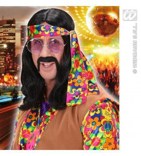 Pruik Hippie Lennon Zwart
