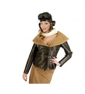 Retro Vliegenier Dame Amelia Earhart Vrouw Kostuum