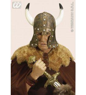 Helm Barbaar Met Hoorn, Latex Brons
