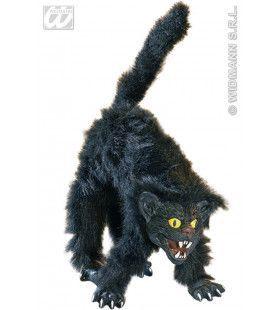 Harige Buigbare Zwarte Kat, 36cm