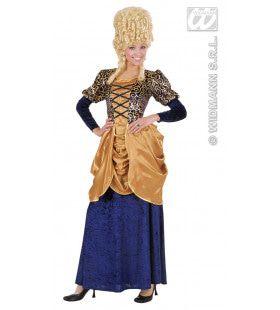 Elegante Markiezin Fluweel Blauw Kostuum Vrouw
