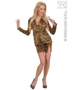 80s Popster, Dame Disco Leopard Kostuum Vrouw