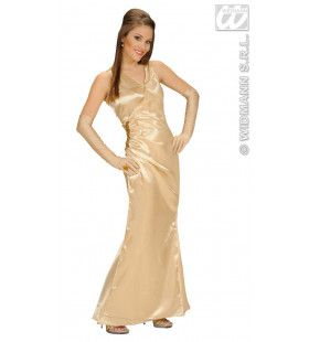 Beroemdheid, Satijn Goud Gala Lady Kostuum Vrouw