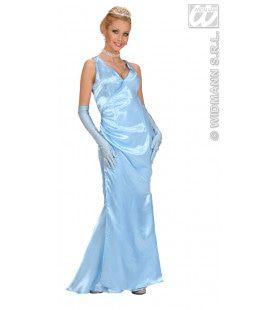 Beroemdheid, Satijn Blauw Gala Lady Kostuum Vrouw