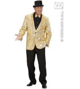 Pailletten Jas Goud Man Kostuum