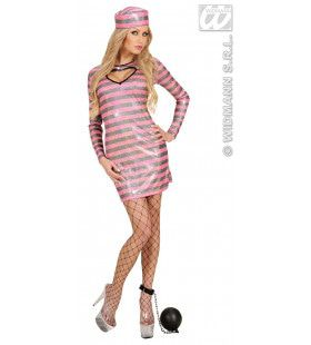 Sexy Gevangene Holografisch Zwart / Roze Pink Prisoner Kostuum Vrouw