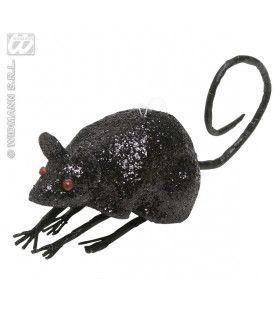 Glitter Muis Zwart 8, 5cm