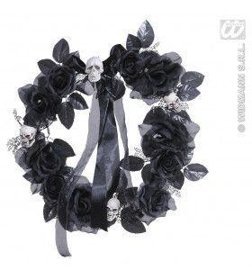 Krans Met Zwarte Rozen, Schedels, Verlichting - 45cm