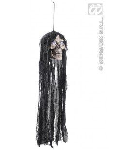 Hangende Schedel Met Bewegende Kaak + Lichtgevende Ogen - 70cm