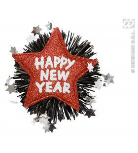 Broche Happy New Year Rood