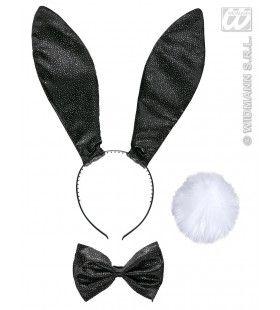 Verkleedset Bunny Glitter Zwart