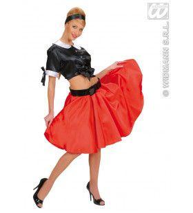 Satijnen Rokje Met Petticoat, Rood Vrouw